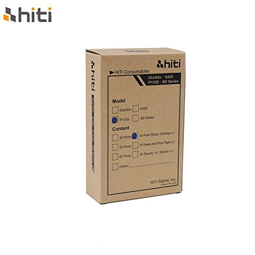 HiTi Digital Inc. P60 Paper and Ribbon  Cartridge Pack for for 60 images (P110S -  BS series)
