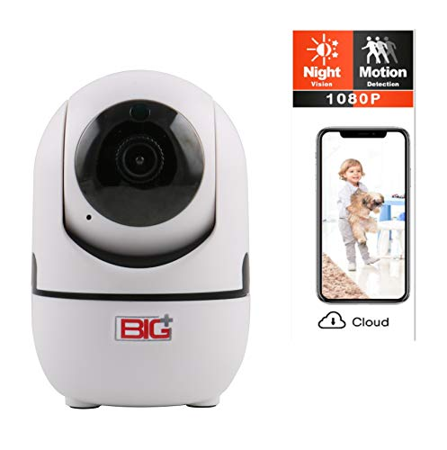 BIG WiFi FHD 1080P Pet Camera with Night Vision, 2-Way Audio and app, Motion Detection, Pan Tilt, 355-degree. Wireless Smart IP Home Camera, Multiuse for Baby, Dog, Cat, Elderly Monitor.
