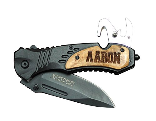 Custom Engraved Pocket Knife - Monogrammed Personalized Wood Handle Rescue Tactical Pocket Knives (All Black with Wood Handle)