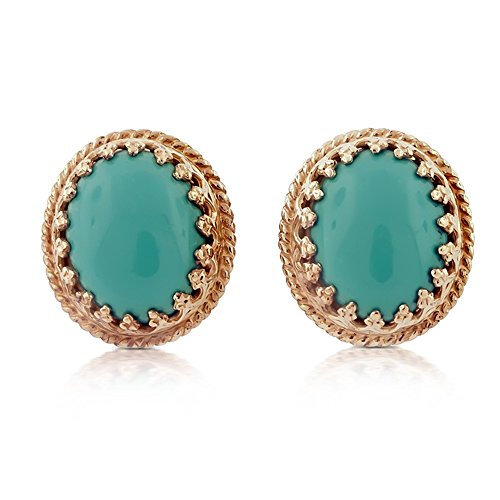 14K Pink Rose Gold Vintage Style Turquoise Earrings
