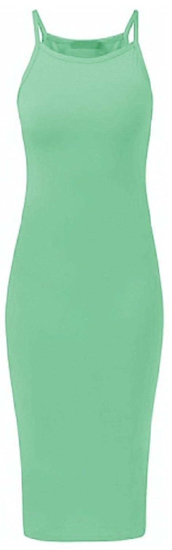Crazy Girls Womens Plain Strappy Viscose Bodycon Long Midi Dress