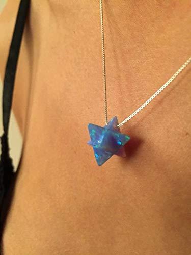 Opal Silver Merkaba Merkaba Necklace 3D Star of David