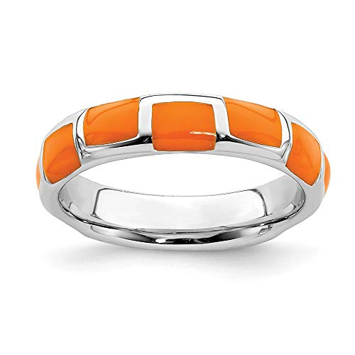 (925 Sterling Silver Orange Enameled Band Ring Size 8.00 Stackable Ed Fine Jewelry Gifts For Women For)