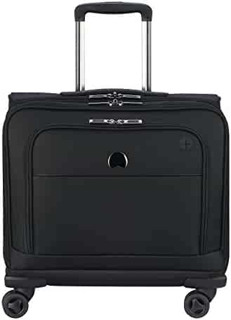 Delsey Luggage 4 Wheel Spinner Mobile Laptop Briefcase, Black, One Size