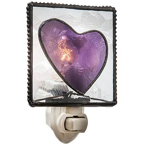 - J Devlin NTL 128 Stained Glass Heart Night Light Purple and Clear Textured Decorative Lite Girl's Room Wall Accent Light