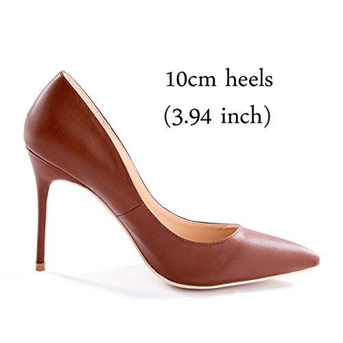 Alti Scarpe Gouache Marrone Tacco Color4 Vestito Donne 12 10cm 10 Le Altezza Centimetri Di Tacchi Colore Per Nozze g4xxFpwq