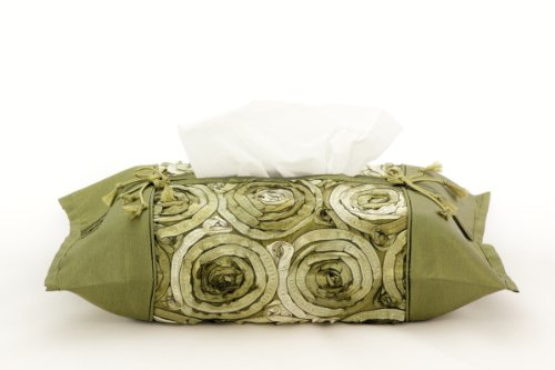 Two Tone Flower Tissue Box Cover Handmade By Thai Silk and Satin Fabric (Size 16'' X 16'') - Green by Thai Products Store