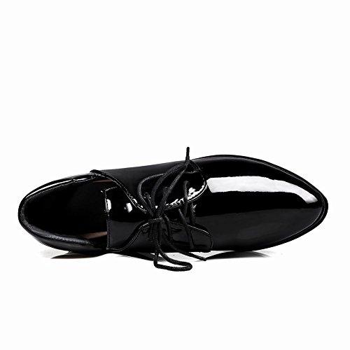 Latasa Dames Lace Up Platform Oxford Wedges Schoenen Zwart