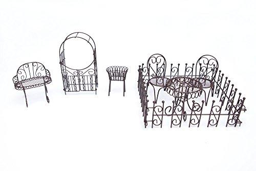 Hi-Line Gift Ltd. Fairy Garden 10 Piece Patio Furniture Set, Antique Brown