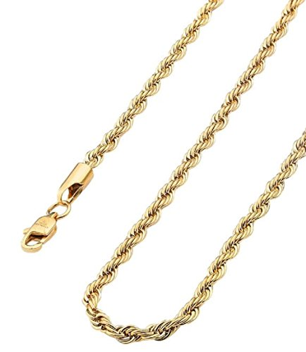 - Gold Chain 3.5mm by Elegant Image Jewelry - Lobster Claw Clasp Stamped 24K - Necklace for Men and Women (20)