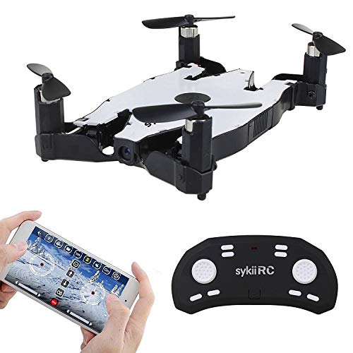 sykii RC Mini Drone H49 Selfie Drone FPV WiFi Altitude Hold Auto Foldable 2.4G 4-Channel 6Axis with HD 720P Camera Headless Mode Ultrathin RC Quadcopter RTF - White]()