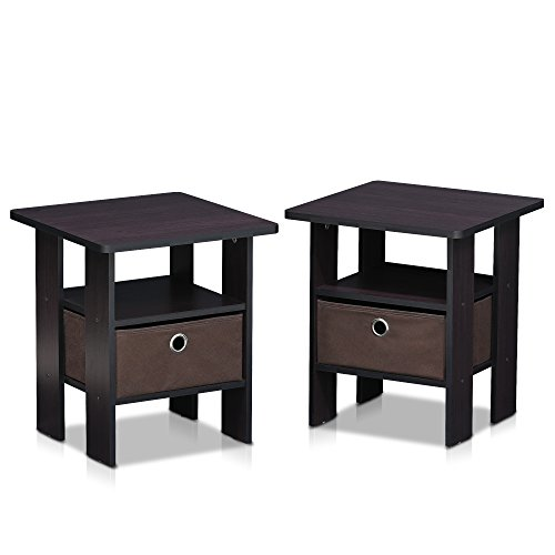 Furinno 2-11157DWN Dark Walnut Petite End Table Bedroom Nigh