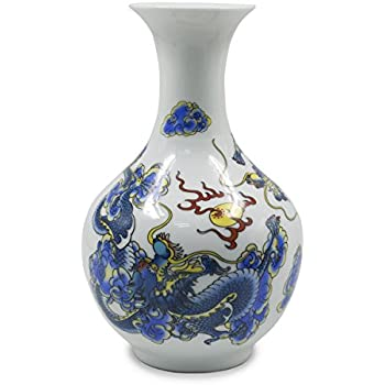 Amazon Dahlia Chinese Dragon Motif Blue And White Porcelain