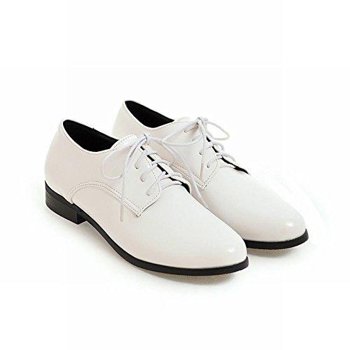 Show Shine Lacci Donna Casual Allacciati Tacchi Alti Scarpe Oxford Bianco