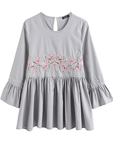 SoTeer Women's Floral Embroidery Loose Blouse Bell Sleeve Top Grey M
