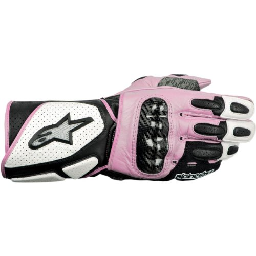 P-2 Womens Leather Gloves , Distinct Name: White/Black/Pink, Primary Color: Pink, Size: Lg, Gender: Womens, Apparel Material: Leather 3518212-239-L (239 Leather)