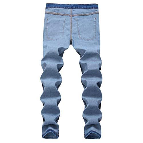 Fit Pantaloni Denim Jeans Elasticizzati Media Dritti A In Uomo Vita Blu Strappati Slim Con w4zAfq6