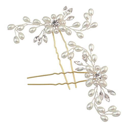 Sweet Branch ( Orcbee  _Elegant Sweet Fresh Pearl Flower Branch Lace Hand Knitted Tiara Hairpin Ladies Bridal Jewelry)
