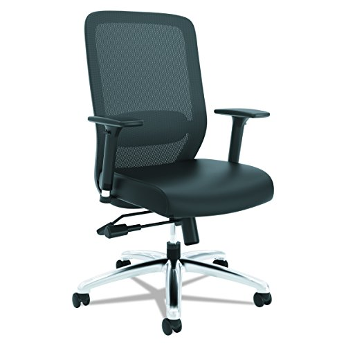 HON Exposure Mesh Task Chair – Mesh High-Back Computer Chair with Leather Seat for Office Desk, Black