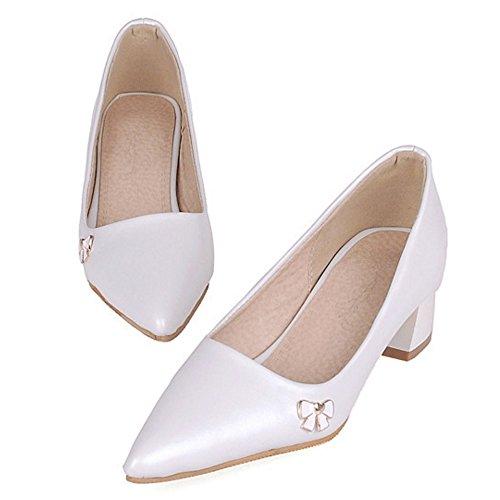 COOLCEPT Mujer Moda Simple Tacon Ancho Cerrado Puntiagudo Court Zapatos White