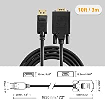 CableCreation DisplayPort to VGA Cable,Gold Plated Standard DP to VGA Male,10ft