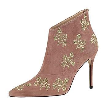 Shukun Botines Los Zapatos de Invierno para Mujer cruzan Las Correas, los Tacones Altos y los Botines versátiles, con Botas Negras Martin: Amazon.es: ...