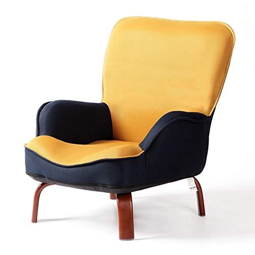 WHLMDZI Single Sofa Recliner -Foldable Sofa - Armchair Living Room Leisure Seat High Rebound Sponge Cushion Lazy Sofa Portable Seat Floor Chair Detachable Stitching Color (Color : Yellow) (Cushions Seat Uk Window)