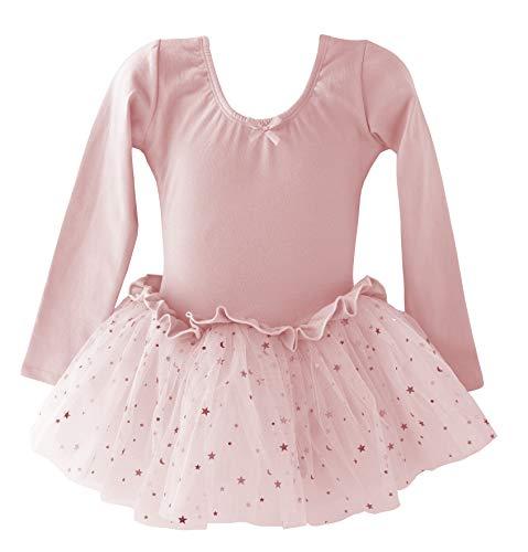 Dancina Leotard Sparkle Tutu Dress Long Sleeve Disney Princess Fairy Dress Up Leo Costume 8 Ballet Pink