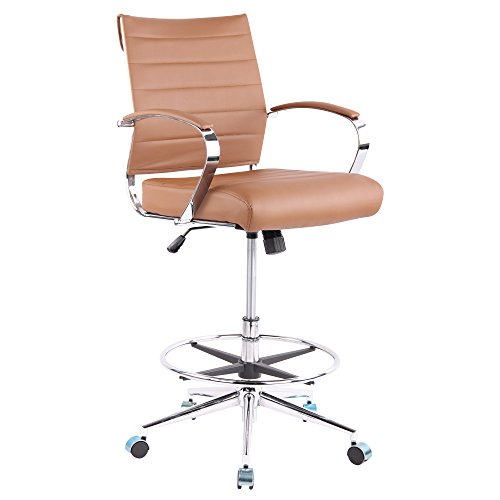 Poly and Bark Tremaine Drafting Chair in Vegan Leather, Terracotta