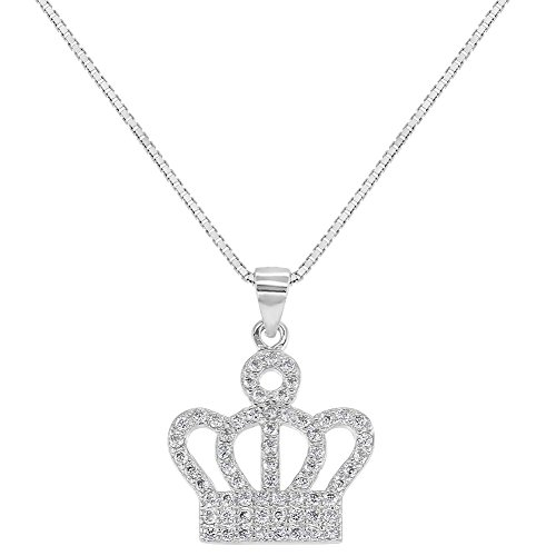 925 Sterling Silver Clear CZ Princess Crown Pendant Necklace Girls 16
