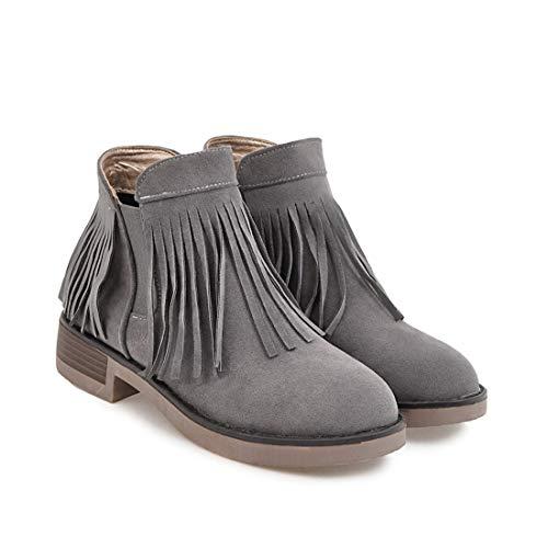 Sandalette-DEDE Cómodo Cuadrado con Botas de Mujer con Flecos Botas de Mujer borlas de Tubo bajo Botas de Mujer Salvaje gray