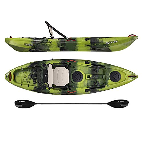 Vibe Kayaks Yellowfin 100 10 Foot Angler Recreational Sit On Top Light Weight Fishing Kayak (Moss Camo) with Paddle and Adjustable Hero Comfort Seat - Journey ()