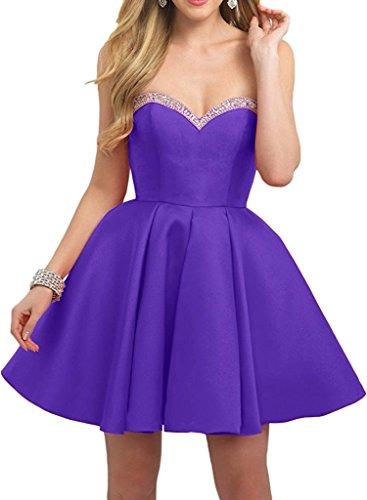 Violett Braut Kurz Marie La Abendkleider Partykleider Traegerlos Tanzenkleider Herzausschnitt Damen Festlichkleider Mini 1P5qwzBx5