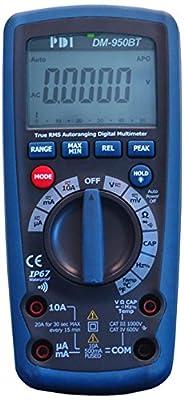 PDI DM-950BT Handheld Digital Multimeter with Wireless App and True RMS, Blue