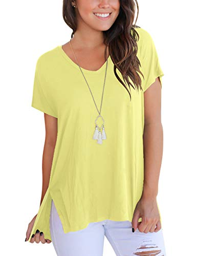 Rose Yellow T-shirt - Womens Tops Loose Casual T Shirts Plain Summer Tees with Side Split Fashion Clothes for Teen Girls Yellow