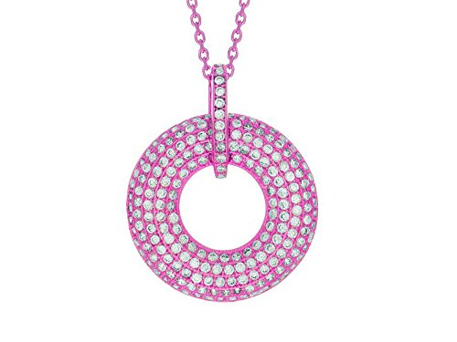 "Finejewelers Silver 18"" Rose Finish Open Circle Pendant Necklace with White Cubic Zirconia"