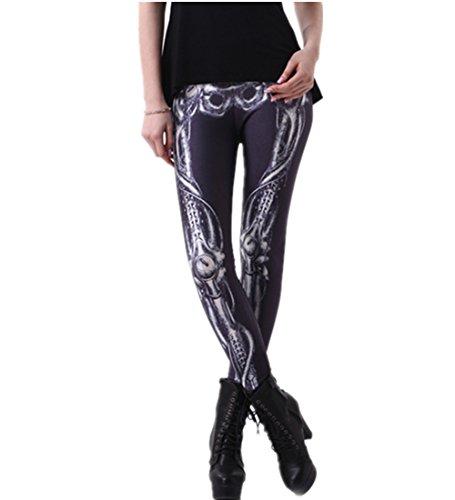 (Joyhy Women's Stretchy Digital 3D Printed Plus Size Leggings Footless Tights Skeleton J036)