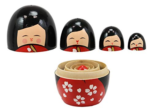 Ebros Gift Red Japanese Kokeshi Girl Wooden Toy Stacking Nesting Dolls 5 Piece Set Hand Painted Wood Decorative Collectible Matryoshka Doll Toys for Children Christmas Mother's Day Birthday Gifts