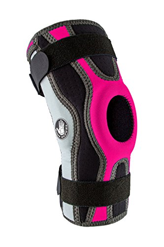 Body Glove 5mm Perforated SBR Sports Knee Brace - Injury Prevention Removable Bilateral Hinges - Knee Wrap Supports Mild ACL, PCL, MCL Sprains - Patella and Meniscus Tear Pain Relief (Pink, Small) (Supporter Armor Under Athletic)