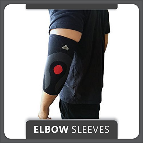 Bear Grips: Minimalistic Elbow Sleeves, Support & Compression for Weightlifting, Cross Fitness, Powerlifting, Bodybuilding, Tennis, Golf, Yoga - Both Women & Men, Large, Single in Black (Golfer Bear)