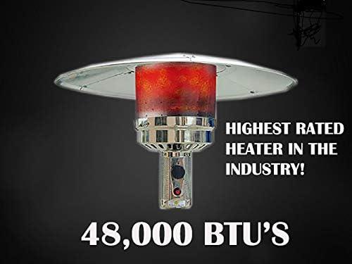 Hiland HLDS01-WCBT 48,000 BTU Propane Patio Heater w/Wheels and Table