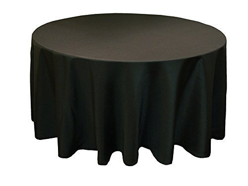 Black Cotton Polyester Round Table Cloth Cover For Dining & Christmas Party 108 Inches (Pack Of 10)