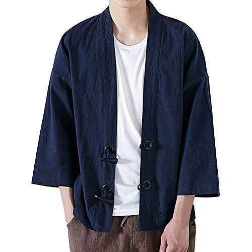 ANJUNIE Men Japanese Yukata Coat Casual Kimono Outwear Cotton Vintage Loose Jacket(Navy,XL)