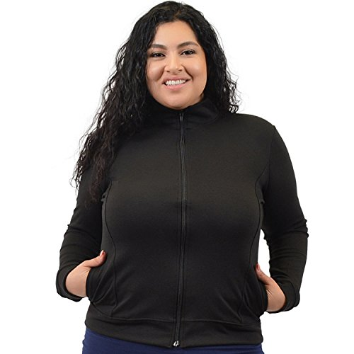Stretch is Comfort Women's Plus Size Cheer Cotton Warm Up Jacket Black (Cotton Stretch Jacket)