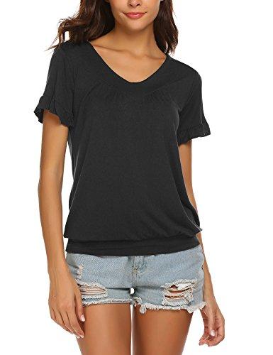 - Hotouch Women's Simple V Neck Short Sleeve Flutter Sleeve Top Black M