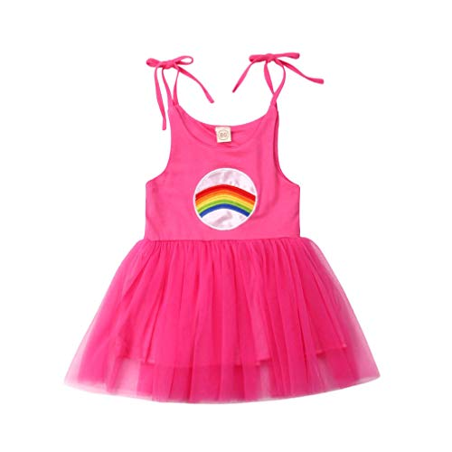 Toddle Baby Girl Belted Bowknot Summer Skirt Rainbow Pattern Bloody Dress Bubble Veil Outfit(6M-4Years) (18-24 Months, Rose Red)