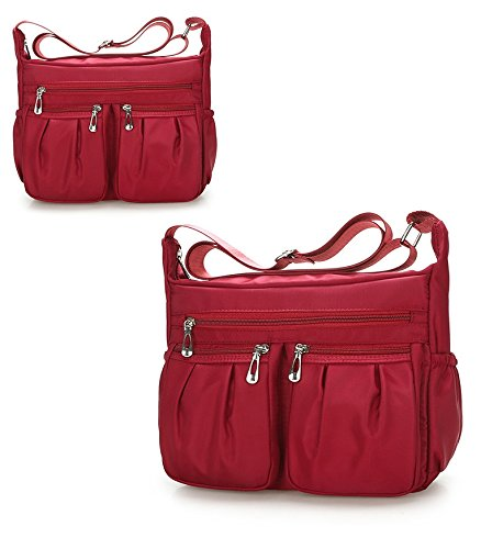 Weather BEKILOLE Easy Pocket Nylon Designer Apple Purse Red to Crossbody Bag Messenger Shoulder Bag Multi Clean Resistant 7fvwq7rgH