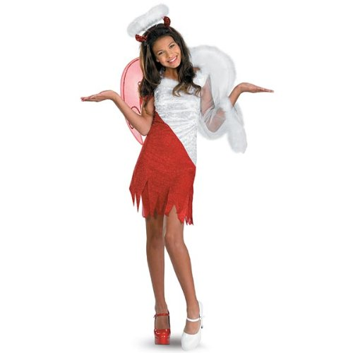 [Disguise Sassy Scene Heavenly Devil Deluxe Tween Costume, Medium (7-8)] (Angel Fancy Dress)