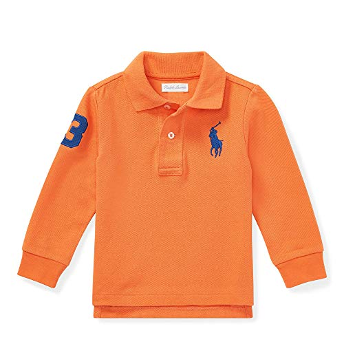 Polo Ralph Lauren Baby Boy's Long Sleeve Big Pony Polo Shirts, Orange, 18 Months