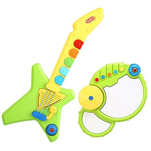 Peradix Gitarren & Trommel Spielzeug Set Kinder Pop Musikinstrumente mit Demosongs und Lichteffekten